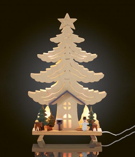 LED-Holz Stimmungsleuchter Haus, 1 Stk