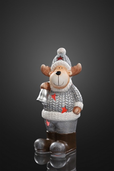 Keramik-Rentier mit Glocke, 1 Stk