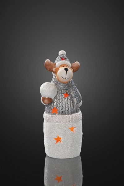 Keramik-Rentier mit Schneeball, 1 Stk