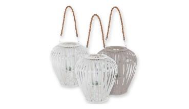 Gilde Weide Laterne Windlicht bauchig, weiß o. grau mit Glaseinsatz, 37 x 29 cm , 1 VE = 6 Stück