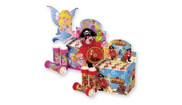 Seifenblasen Kugelspiel Pirat und Prinzessin 60ml sort.i.Disp, 1 VE =48Stück