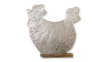 Gilde Metall-Henne auf Holzbase, 1 VE = 1 Stück