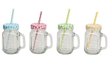 Trinkglas mit Henkel und Strohhalmdeckel, 4-tlg. Set, 1 VE = 12 Sets
