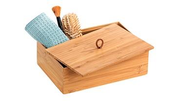 WENKO Terra Bambus Box, moderne Aufbewahrungsbox, 1 VE = 4 Stück