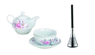 Teekannen-Set aus Porzellan Rosendekor und WMF Tee-Stab klein, 1 VE = 1 Set