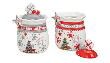 "KeramikVorratsdose ""Sack Merry Christmas"" mit Deckel, 1 VE = 4 Stück"