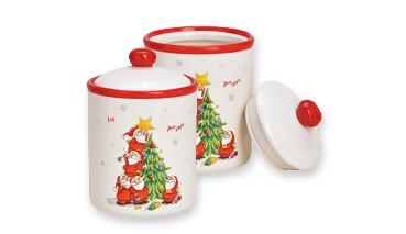 "Keramik Vorratsdose ""Nikolaus mit Tannenbaum"" mit Deckel , 1 VE = 6 Stück"