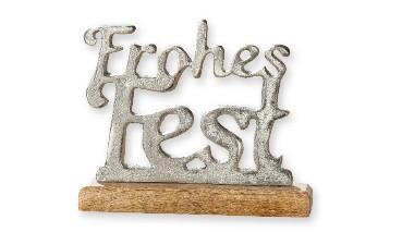 """Gilde Alu-Schriftzug """"Frohes Fest"""", Maße ca.: 20,5 x 5,5 x 17 cm, 1 Stück, 1 VE = 6 Stück"""
