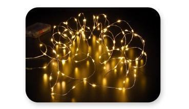 80-LED Draht-Lichterkette, mit Timer, für innen geeignet, warmweiß, 1 VE = 12 Stück