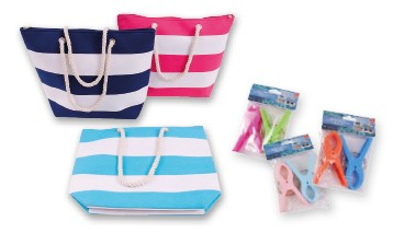 Set: Strandtasche ca. 50 x 15 x 38 cm,versch. Farben inkl. 1 Paar Strandtuchklammern 1 VE = 12 Stück