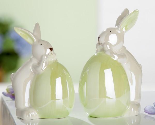 Gilde Keramik Hase Bunny mit Ei, 12 cm hoch, 1 VE = 8 Stück