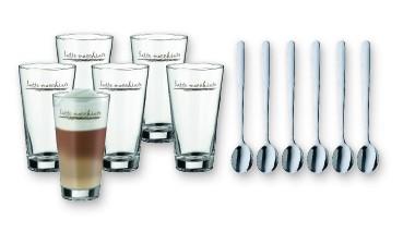WMF Latte Macchiato Gläser mit Löffel 12 tlg. Cromargan® Edelstahl, spülmaschinenf., 1 VE = 4 Stück