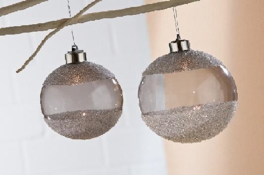 Gilde Handwerk LED-Baumkugel aus Rauchglas